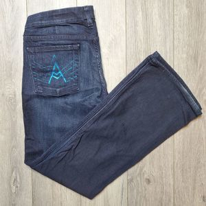 7 for all mankind shiny A pocket dark flare jeans